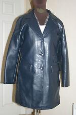 GV Womens BLUE PVC PU COAT Faux Leather Fetish Vegan Size L Chest c42ins c107cms
