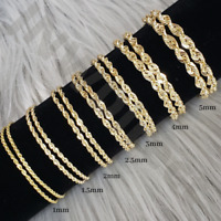 10K Yellow Genuine Gold Necklace Rope Chain Diamond Cut 1mm 1.5mm 2mm 2.5mm 3mm