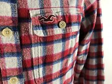Hollister Men's Flannel Red Tartan Long Sleeve Shirts Size S