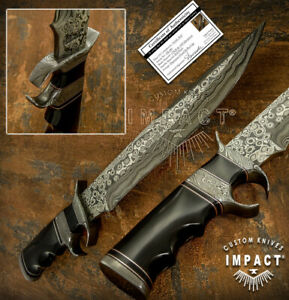 IMPACT CUTLERY RARE CUSTOM DAMASCUS SUB HILTED BOWIE KNIFE BULL HORN HANDLE
