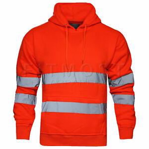 Hi Viz Vis High Visibility Jacket Pullover Hoodie Work Hooded Fleece Sweatshirt