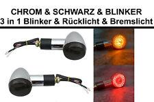 👍 CHROM  & SCHWARZ  & BLINKER 3 in1 LED Rücklicht Blinker Bremslicht Motorrad👍