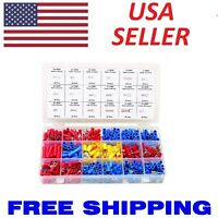 520 pc Spade Butt Ring Electrical Connector Splice 22-10 Gauge Wire Terminal Kit