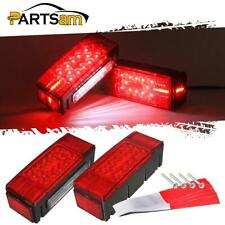 Left+Right Led Waterproof Red Trailer Boat Rectangle Stud Stop Turn Tail Lights