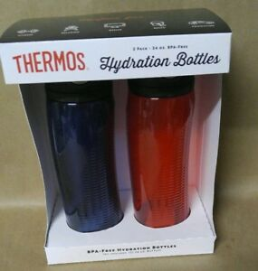 Thermos Hydration Bottles 2pk-24oz(dark blue and red)