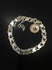 Vintage Sterling Silver Charm Bracelet Hoops / Hearts & Sombrero CR2 13.1 Grams