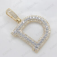 6.45 Ct Round Cut Diamond Initial D Letter Charm Pendant 14k Yellow Gold Finish