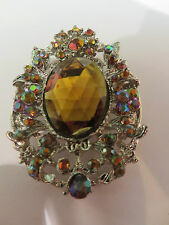 SPARKLY AMBER STONE MULTI COLOUR SURROUND BROOCH 4cm x 6 cm New boxed gift pouch