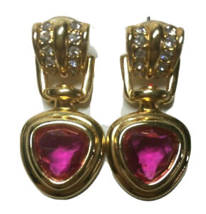 Swarovski Gold Tone Drop Doorknocker Earrings with Pink and Clear Crystal