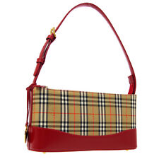 BURBERRY House Check Hand Bag Beige Red Canvas Leather Authentic 05321