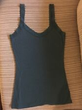 Women's Free People  Eloise Dark Teal Vneck Tank Top With Lace Straps  Sz S