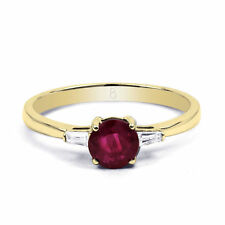 18 Carat Solitaire with Accents Round Yellow Gold Fine Rings