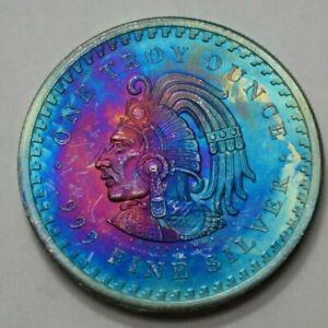 1 Oz 999 Silver Aztec Mayan Calendar Collectible Coin Medal Bullion Toned Round!
