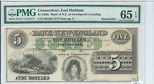$5 Connecticut Bank New England Goodspeed G22c 18XX Ship Yard Plate A PMG 65EPQ.