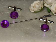 S/P  Purple Cufflinks & Cravat/Stick Pin -Mens-Ladies-Wedding-Gifts-Formal Wear
