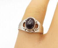 925 Sterling Silver - Vintage Cabochon Cut Black Onyx Band Ring Sz 9 - R16766