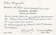 MARCEL CARNE carte autographe signée et télégramme à Le Breton