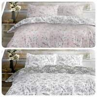 Dreams & Drapes VINTAGE BIRDS Duvet Cover Bedding Bed Quilt Floral Set Grey Pink