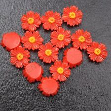 20Pcs Red Resin Sunflower flower flat back  DIY Charms Bead /have hole 12MM