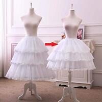 Womens White 3 Hoop Petticoat Skirt Lace Lolita Underskirt  Crinoline Adjustable