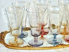 BEAUTIFUL MIDCENTURY HARLEQUIN CRYSTAL ? PARFIT / CHAMPAGNE GLASSES SET OF 6