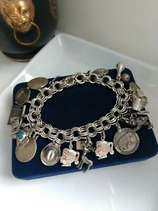 """Vintage LOADED Charms ELCO Bracelet Fine Sterling Silver w/ Safety Chain 8"""" L"""