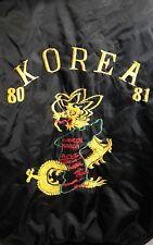 "Vintage KOREA Sukajan Men's Jacket BLACK US size XL Dragon Embroidered 1980""s"
