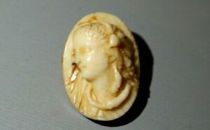 ANTIQUE VICTORIAN CARVED COW BONE BROOCH. HIGH RELIEF. LADY WITH SNAKE NECKLACE.