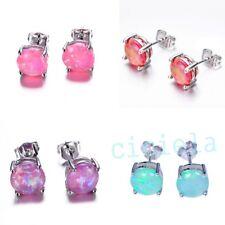 Women Natural Opal Round Crystal Ear Stud Earrings Silver Filled Sweet Jewelry