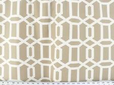 Drapery Upholstery Fabric 100% Cotton Geometric Chain Print - Ivory / Tan