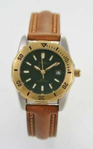 Pulsar Watch Womens Brown Leather Stainless Steel Silver Gold 30m Green Quartz