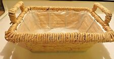 Metal Frame Basket With Straw Wicker Natural Weave Lined Handles 12x8x4
