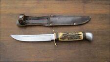 FINE Vintage SOLINGEN Germany Carbon Steel Hunting Knife w/Stag - RAZOR SHARP