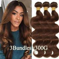 8A Unprocessed Virgin Human Hair Weave 3Bundles 300G Weft Brown Ombre Blonde US