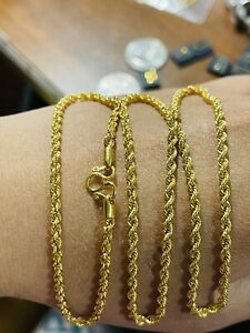 """22K Yellow Real Saudi Gold 916 Unisex Rope Chain Necklace 22"""" Long 6.65g 3mm"""