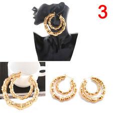 High Large Bamboo Joint Hoop Earrings Hip-Hop Gold Tone Ladies Big Circle Hoop3C