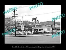 OLD LARGE HISTORIC PHOTO OF HONOLULU HAWAII THE FLYING A SERVICE STATION c1958