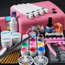 Pro Full 36W Pink Cure Lamp Dryer & 12 Color UV Gel Nail Art Brush Tools Set Kit