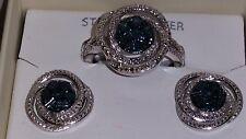 Kims Jewelers Sterling Silver Smoke Blue Diamond Spiral Ring & Earring Combo Set