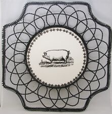 """Woven Wire 14"""" Square Basket Tray Centerpiece w/ Round Ceramic Center Tile PIG"""