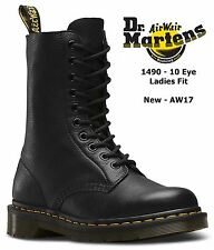 Dr Martens Ladies 1490 Black Soft Virginia Nappa 10 Eye Leather Boots