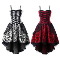 Steampunk Women Lace Up Party Prom Corsets Dip Hem Cami Gothic Dress Plus Size