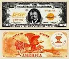 Roosevelt $10,000 Gold Certificate Dollar Bill Fake Funny Money Novelty Note