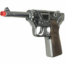 NIB German Style LUGER - Chrome Finish 8 Ring Cap Gun Blaster Toy Pistol