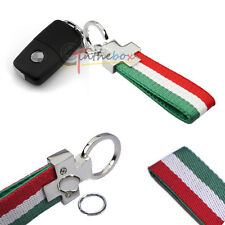 1X Universal Italy Flag Stripe Nylon Band w/ Inner Leather Car Keychain Key Ring