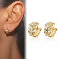 Women Leaf Crystal Hoops Huggie Earrings Dangle Rhinestone Ear Studs Earrings