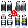 4 Pack Easy No Tie Shoelaces Elastic Silicone Flat Lazy Shoe Lace Strings Adult