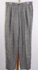 Vintage 80's Men's Bill Robinson 100% Linen Black White Plaid Pants Size 33x32