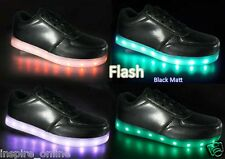 FLASH KIDS LACE UP BOYS LIGHT UP GIRLS TRAINERS PUMPS WOMENS LED USB CHARGER NEW