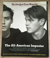 The New York Times Magazine December 12 1999 Talented Mr. Ripley Matt Damon, Law